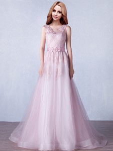 See Through Scoop Brush Train Prom Dress With Appliques