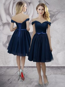 New Style Off the Shoulder Navy Blue Prom Dress in Knee Length