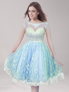 Cheap Scoop Light Blue Prom Dress with Beading and Lace