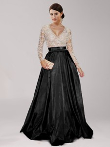 Luxurious Deep V Neckline Long Sleeves Black Prom Dress with Beading and Belt