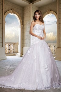 Romantic Sweetheart A Line Wedding Dress with Chapel Train