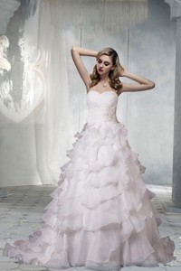 Classical Sweetheart Court Train A Line Wedding Dress With Appliques