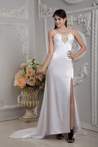Popular Column Straps Brush Train Elastic Woven Satin Beading and Ruch Wedding Dress