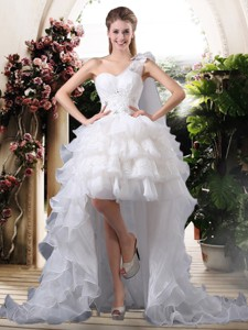 Inexpensive One Shoulder High Low Wedding Dress With Ruffled Layers
