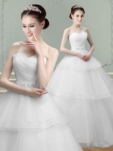 Best Selling Puffy Skirt Beaded Wedding Dress with Ruching