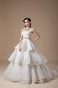 Beautiful Strapless Brush Train Taffeta And Organza Appliques With Beading Wedding Dress