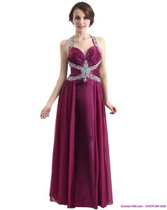 Sequins Halter Top Ruching And Beading Prom Dress In Wine Red