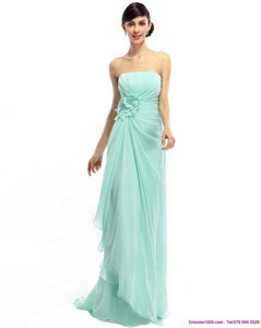 Sweep Train Apple Green Prom Dress With Ruching And Hand Made Flower