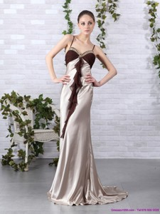 Multi Color Beading Long Prom Dress With Backless And Brush Train