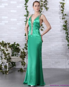 Elegant Beading Long Prom Dress With Brush Train