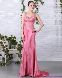 Rose Pink Beading Long Prom Dress With Brush Train