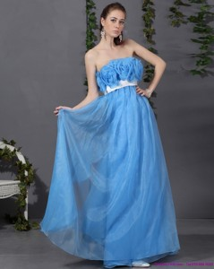 Long Prom Dress With Hand Made Flowers And Sash