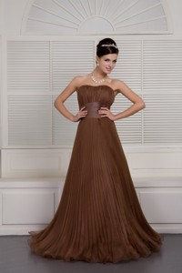 Gorgeous Brown Prom Evening Dress Sweetheart Organza Ruch Brush Train