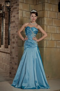 Teal Sweetheart Brush Train Taffeta Beading Prom Dress