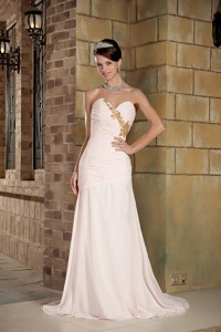 Light Pink Column Sweetheart Brush Train Chiffon Beading Prom Dress