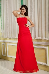 Pretty Red Bridesmaid Dress Column Strapless Floor-length Chiffon Ruch