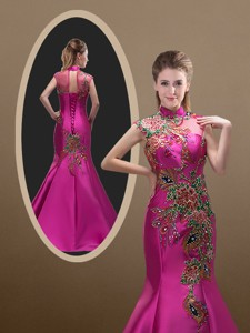 New Style Mermaid Brush Train Prom Dress With Appliques And Beading