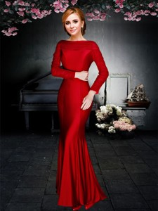 Exclusive Column Ankle Length Long Sleeves Prom Dress in Red