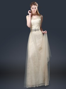 Empire Lace Prom Dress With Appliques In Champagne