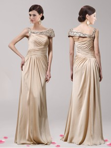 New Style Asymmetrical Neckline Champagne Prom Dress with Beading