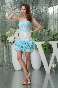 Mini-length Sweetheart Ruched Beaded Baby Blue Prom Dress
