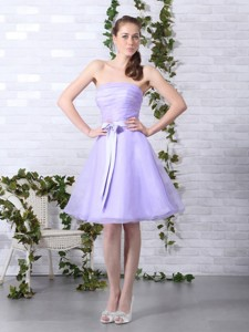 Cute Lilac Strapless Ruching Mini Length Prom Dress With Bowknot