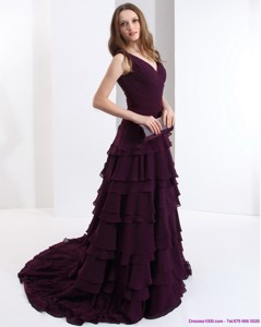 Classical V Neck Prom Dress In Dark Purple