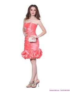 Perfect Strapless Watermelon Red Prom Dress with Beadings and Ruching