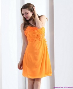 Gorgeous Strapless Orange Prom Dress With Hand Made Flowers And Ruching