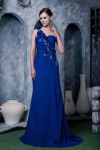 Sexy Royal Blue Column One Shoulder Prom Dress Hand Made Flower and Beading Chiffon Brush Train