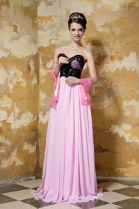 Pink and Black Column Sweetheart Brush Train Chiffon Hand Made Flower Prom Dress
