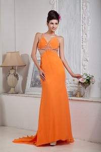 Sexy Orange Red Column Halter Evening Dress Chiffon Beading Brush Train