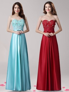 Elegant Beaded and Bowknot Empire Prom Dress in Satin