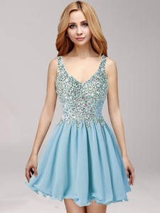 Simple Straps Ruffled and Beaded Chiffon Prom Dress in Baby Blue