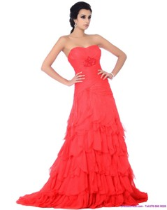 Brush Train Prom Dress With Ruffled Layers And Beading