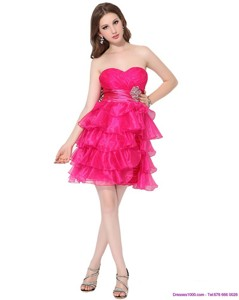 Sweetheart Prom Dress With Ruffled Layers And Beading