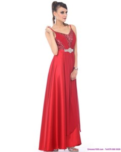 Perfect Spaghetti Straps Floor Length Beading Prom Dress