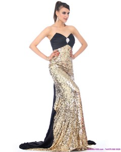 Luxurious Brush Train Prom Dress With Ruching And Sequins