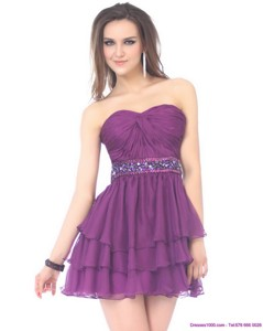 Beautiful Sweetheart Mini Length Prom Dress With Sequins And Ruching