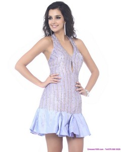 Wonderful Sequined Halter Top Mini Length Prom Dress