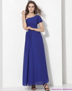 Modest One Shoulder Blue Prom Dress with Ruching and Beading