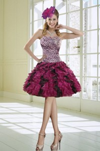 Ruffled Strapless Leopard Prom Dress In Multi Color