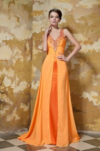 Orange Column V-neck Brush Train Chiffon Beading Prom Dress