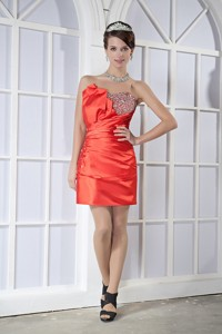 Orange Red Column Sweetheart Mini-length Taffeta Beading Prom Dress