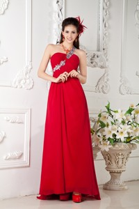 Customize Red Empire One Shoulder Prom / Evening Dress Chiffon Appliques Brush Train