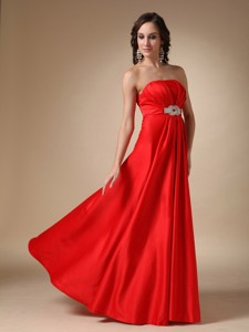 Wine Red Strapless Floor-length Satin Beading Prom Dress
