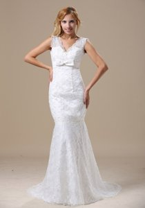 V-neck Sash and Lace Over Skirt For Wedding Dress With Mermaid Brush Train