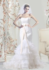 Mermaid Sweetheart Lace Wedding Dress with Sash and Ruffles Layered