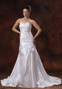 Customize Sweetheart Hand Made Flowers and Appliques Wedding Dress With Court Train Ruch In Conyers