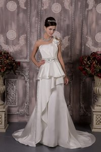 Custom Made One Shoulder Brush Train Satin Beading Wedding Dress